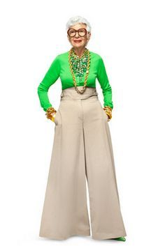 Iris Apfel rocks the color-block. Or this one!!! Can't go wrong in those pants!!