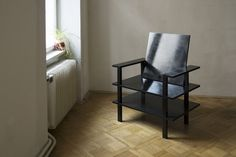 "Minimalist Design Armchair ""Shinra"" made from plywood and high gloss paint. Can be upholstered on demand."