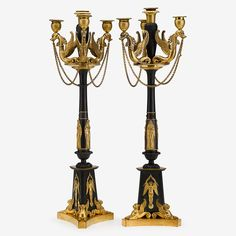 An important pair of French Empire gilt and patinated bronze candelabra,  circa 1800, attributed to Claude Galle. PROVENANCE:  Likely given to the Church in the 19th century by a member of the prominent Burd-Shippen-Sims families, possibly having belonged to General Thomas Cadwalader (1779-1841). Considered to have originally been the property of Joseph Bonaparte (1768-1844), the former King of Spain and Napoleon's elder brother. #FreemansAuction