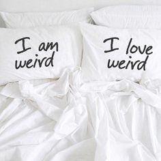 I am Weird I Love Weird Pillow Cases Couples Pillowcases For Him Her Boyfriend Girlfriend Husband Wife His Hers Couples Gift Wedding Gift by CreativePillowLV on Etsy https://www.etsy.com/listing/258561485/i-am-weird-i-love-weird-pillow-cases