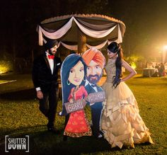 Quirky caricatures based on the bride and groom on display during the engagement ceremony Desi Wedding Decor, Wedding Stage Decorations, Wedding Props, Wedding Photoshoot, Wedding Mandap, Wedding Backdrops, Wedding Favours, Wedding Venues, Wedding Invitations