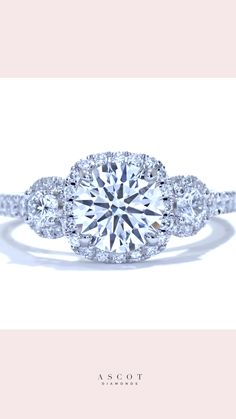 Three Stone halo diamond engagement ring. Made just for you. By Ascot Diamonds #ascotdiamonds