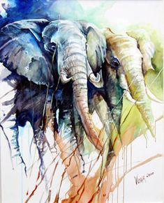 Love the colors Art Watercolor, Watercolor Animals, Voka Art, Elephant Art, Elephant Drawings, Relaxing Art, Wildlife Art, Artist Art, Pet Birds