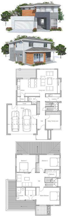 Modern House Plan with nice exterior facade. Modern House Plan to Modern Family. Dream House Plans, Modern House Plans, Small House Plans, Modern House Design, House Floor Plans, Layouts Casa, House Layouts, Architecture Plan, Interior Architecture