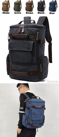 Retro Washing Color School Backpack Travel Outdoor Backpack Large Capacity Boy's Cavnas Zipper Backpack for big sale! #canvas #Large #Outdoor #backpack #Bag #large