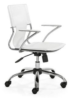 Zuo Modern Trafico Office Chair Trafico Office Chair White Furniture Seating Office Chairs