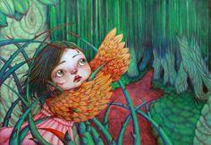 """Ilustración de gran formato para el cuento """"La noche estrellada"""" para un trabajo de proyectos de ilustración en la escuela Llotja de Barcelona. Técnica: Acuarela y lápices de colores."""
