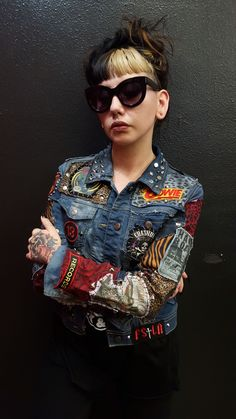 FSLA Headbanger Custom Denim Jacket by Cody Varona only available at Forgotten Saints LA. Available in any size with other available band patches of your choosing. Specializing in Rock 'N' Roll designs and stage clothing for over 20 years!