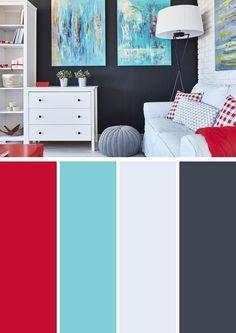 10 vibrant red color combinations and photos shutterfly színpaletták, színs Color Palette For Home, Aqua Color Palette, Color Palettes, Aqua Color Schemes, Living Room Color Schemes, Living Room Color Combination, Bedroom Colors, Bedroom Red, Colour Combinations Interior