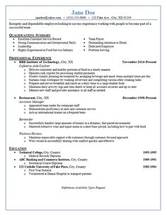 Bartender Resume Example  Chef Resume  Sample Job Resume Layout