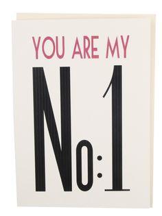 "Gi bort verdens hyggeligste kort ""you are my no.1""   Tykt papir, offwhite  dobbelfoldet  11,5*15,5cm"