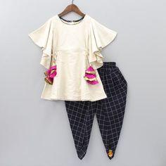 Pre Order: Cream Kurta With Black Checks Dhoti Stylish Dresses For Girls, Stylish Dress Designs, Frocks For Girls, Dresses Kids Girl, Kids Outfits Girls, Girl Outfits, Girls Frock Design, Baby Dress Design, Baby Frocks Designs