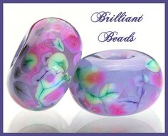 Spring Violets Glass Spacer Bead PairHandmade by Gillianbeads, $4.25