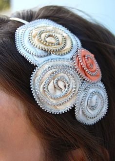 Sophie Zipper Headbands - Handmade from salvaged materials. Go visit ellalane.com for more fab finds