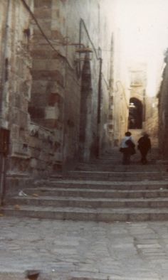 This street is called Via Dolorsa, or Street of Sorrows. Many Christians believe that it's where Jesus walked on his way to where he died. It's in Jerusalem, Israel.