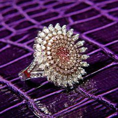 Pink Sunflower Swarovski Elements Ring