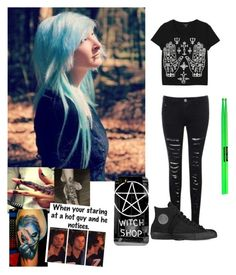 """""""New"""" by rickyhorror28 ❤ liked on Polyvore featuring Monki and Converse"""