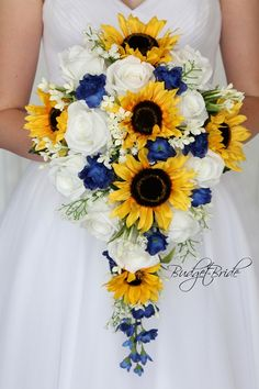 Horizon Davids Bridal Wedding Flowers in cascading tear drop bouquet in Horizon blue, white and with sunflowers