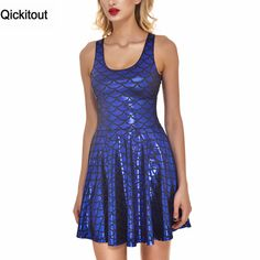 Cheap Qickitout dress 2016 nuova estate sirena scale breve dress loose women sexy senza spalline a line casual mini abiti camicia, Compro Qualità Abiti direttamente da fornitori della Cina:     Drop Ship Brand New Hot Sexy Women Casual Dress CRAZY CAT LADY REVERSIBLE SKATER DRESS - LIMITED Pleated Print