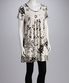 Take a look at this Papillon Imports Ivory & Black Floral Dress on zulily today!