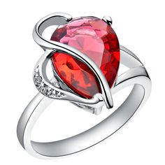 Red Crystal Diamante Plated 18K Ring