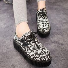 Womens Punk Shoes Vintage Lace-Up Flower Print Creepers Flats - US 15.80  Creepers 5d871f5f5b1