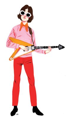 Illustration of Dave Davies from The Kinks, for LA Record magazine Beatles, Jackie Deshannon, Terry Allen, Dave Davies, The Kinks, Sketchbook Drawings, Guitar Design, Comic Styles, Sketchbook Inspiration