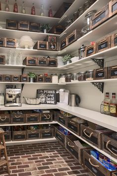Get ideas and inspiration for your new custom luxury home? See pictures of new homes built in northern Colorado. Kitchen Pantry Design, Home Decor Kitchen, Home Kitchens, Kitchen Organization Pantry, Diy Kitchen Storage, Pantry Ideas, Organization Hacks, Organizing, Pantry Shelving