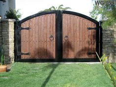 Wooden Gates, Wood Doors, Advanced Iron Concepts Call For Wood Entry Doors At Cedar Gate, Wooden Fence Gate, Fence Gate Design, Steel Gate Design, Front Gate Design, House Gate Design, Electric Driveway Gates, Wooden Gate Designs, Backyard Gates