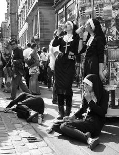 nuns drinking beer and smoking