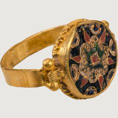 Constantinople? 10th century Gold and enamel Weight 6.2 gr; bezel 13 x 14 mm; circumference 60 mm