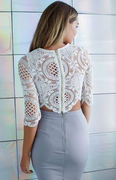 White Lace Crop Top, Lace Crop Tops, Classy Outfits, Chic Outfits, Fashion Outfits, Skirt Fashion, Rock Chic, Grey Fashion, Womens Fashion