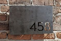 rectangle plaque made from thick steel plate. Numbers can be justified to any corner of the rectangle. Address Numbers, Address Plaque, Name Plate Design, Melrose House, Metal House Numbers, House Address, Signage Design, Typography Design, Gate Design
