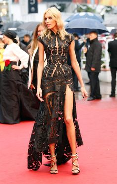 la modella mafia best dressed fashion at Cannes 2012 Film Festival - Anja Rubik in a Roberto Cavalli slit cut out dress