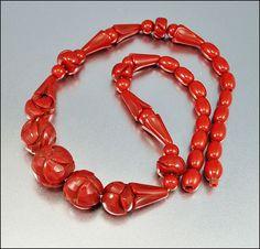 Art Deco Necklace Bakelite Bead Carved Vintage Jewelry by boylerpf, on etsy