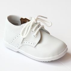 Angel Infant Boys 2157 White Leather Dress Lace Up Oxfords — Babychelle