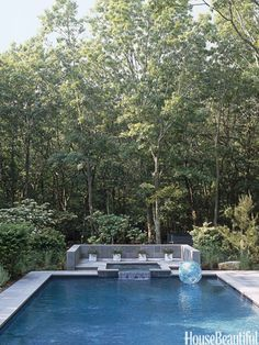 Pool in the Woods from House Beautiful. Design: Kristin Hein and Philip Cozzi. Photographer: Julian Wass