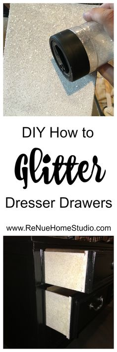 DIY Project - How to Glitter the sides of a Dresser Drawer with Paint, Mod Podge and Glitter. This is a super easy tutorial that will give you a dramatic impact on your painted furniture projects.   Chalk Paint, Repurpose, Furniture, Up Cycle, Paint Brush
