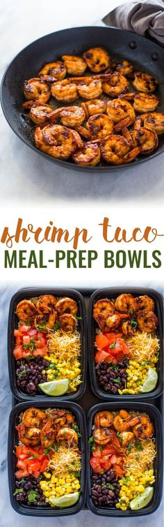 Healthy Shrimp Taco Meal Prep Bowls - add 4 more blocks of protein and the entire recipe would be 28 blocks, or 4 block meals healthy lunch recipes Lunch Meal Prep, Meal Prep Bowls, Healthy Meal Prep, Healthy Snacks, Healthy Eating, Healthy Recipes, Clean Eating, Vegetarian Recipes, Dinner Meal