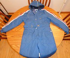 Youth One Piece Snowmobile Snow Ski Suit Sz 18 Blue Fleece Lined Hood Vintage #1PieceSnowsuit