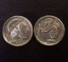 Robert Shamey hobo nickels using miniature hobo nickel tokens.