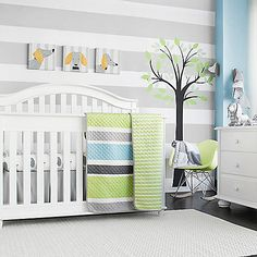 The CoCaLo Julian Crib Bedding Collection gathers classic nursery room styles and colors into one beautiful set. This collection with gorgeously decorate your child's room with candy stripes, trellis patterns, and desk stripe designs in soft hues.