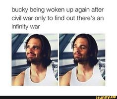 Bucky being woken up again after Civil war only to find out there's an infinity war - iFunny :) Marvel Jokes, Avengers Memes, Marvel Funny, Marvel Dc Comics, Marvel Heroes, Avengers Imagines, Marvel Actors, Avengers Cast, Marvel Avengers