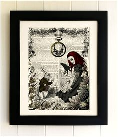 ART PRINT on old antique book page - Goth Alice in Wonderland, White Rabbit, Vintage Upcycled Wall Art Print, Encyclopaedia Dictionary Page by thebluebutterflyemp on Etsy