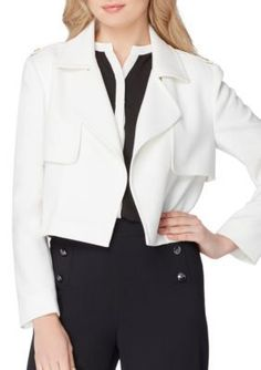 Tahari ASL Cloud Cropped Trench Jacket