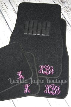 I like the font and color of the very last picture (has the AJ monogram as the sample) and just the set for the front seat would be fine. Monogrammed Black Car Floor Mats by lucindajayneboutique on Etsy
