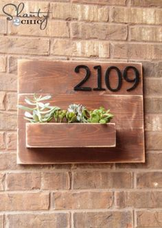 Succulents Crafts and DIY Projects - DIY Address Number Wall Planter - How To Make Fun, Beautiful and Cool Succulent Cactus Wedding Favors, Centerpieces, Mason Jar Ideas, Flower Pots and Decor http://diyjoy.com/diy-ideas-succulents-crafts