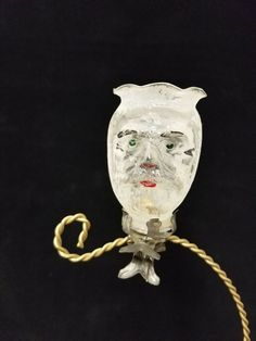 59f4496a37 Rare Vintage German 1920 s Santa Head Candle Holder on Clip Glass Ornament  3.5
