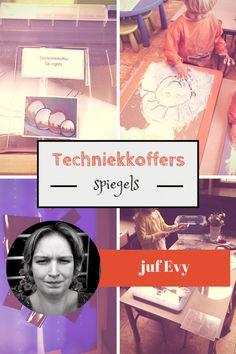 Juf Evy vertelt ons hoe zij techniek met kleuters doet met techniekkoffers. Deze keer vult ze een koffer met spiegels, wat kun je daar allemaal mee?