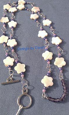 Flower purple cream white polished stone Bead by DoubleDzBeadz, $12.00